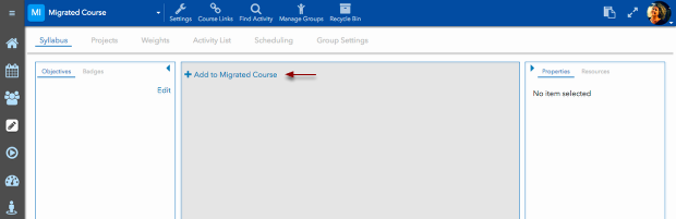 """Click on the + button that says """"Add to <your course name>."""