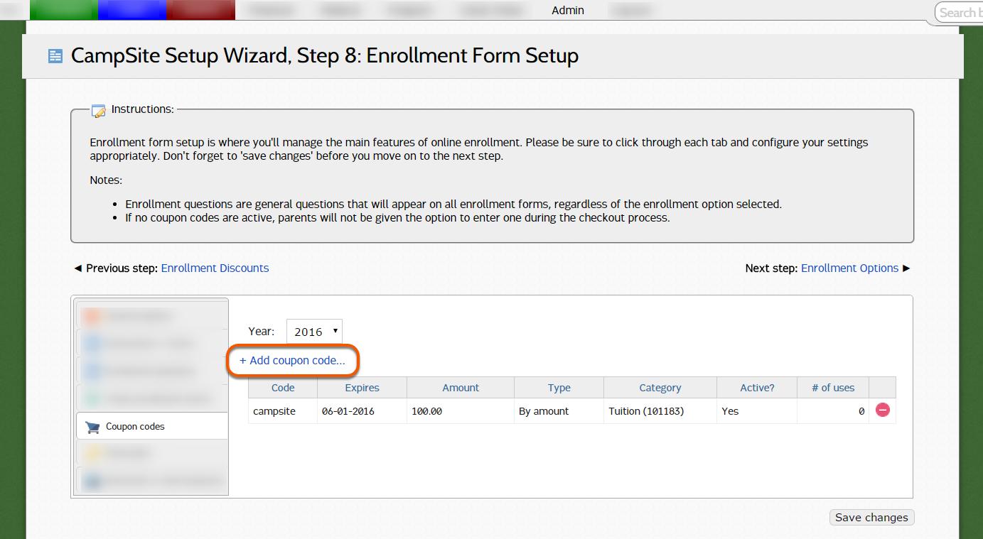 Step 8: Enrollment Form Setup – CampSite Support