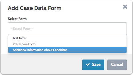 """Select a form to add and click """"Save"""""""