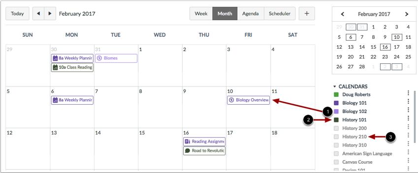 Ver lista del calendario