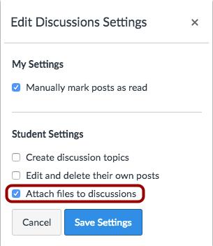 Editar configuraciones de Discusión