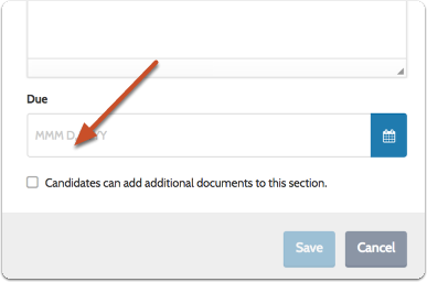 Set whether or not candidates can add additional documents to the section