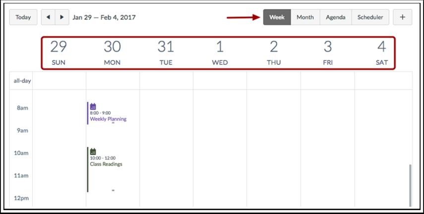 Visualizar o Calendário por Semana