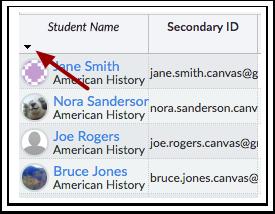 Ordenar Informação do Estudante