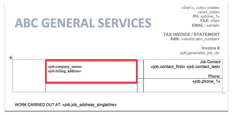 Open your invoice template and enter these fields: