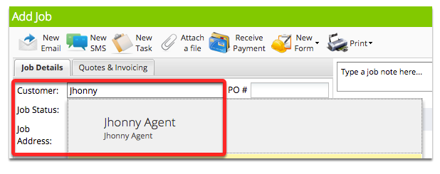Select the Real Estate client/customer you just created