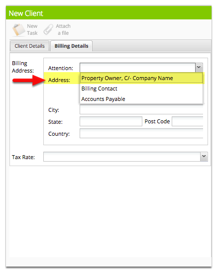 Then select Property Owner, C/- Company Name in Billing Details tab