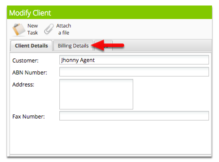 In Client Details, enter the customer/client name