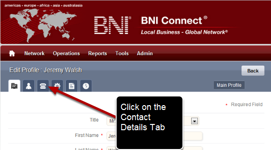 Go To The Contact Details Tab of Your Profile