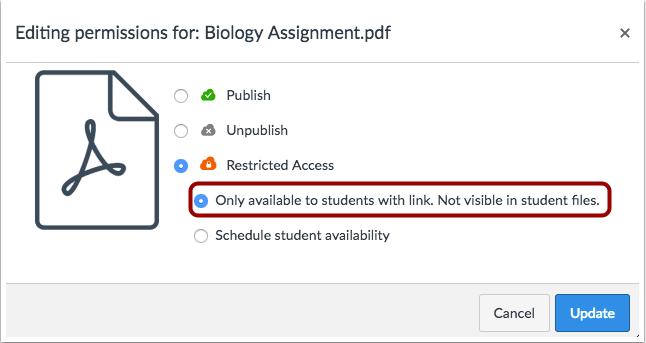 Establecer disponibilidad del archivo para los estudiantes con el enlace