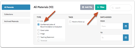Note: If you have many documents, you can filter the list to show only letters of recommendation