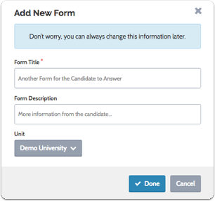 Enter the title and a description of the form, and select a parent unit