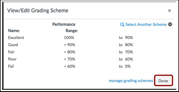 Apply Selected Grading Scheme