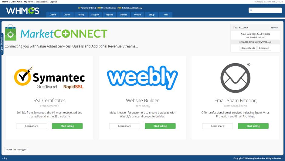 MarketConnect home screen