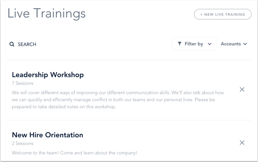 View Live Trainings