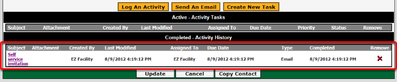Completed - Activity History