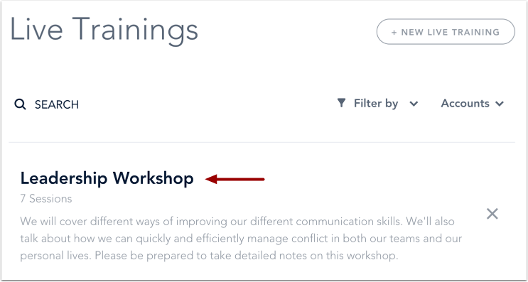 Ouvrir Cours de formation en direct