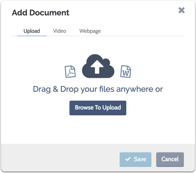 "Enter a name for the document and a description of the kind or category, select your file, and click ""Save"""
