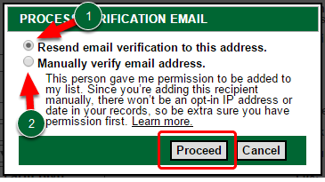 Resending the Process Verification Email & Manual Email Verification