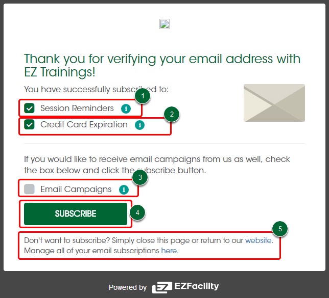 Email verification and subscriptions for clients support center confirmation of email verification reheart Choice Image
