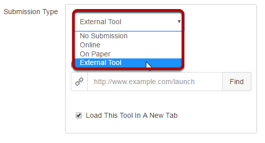For Submission Type select External Tool.