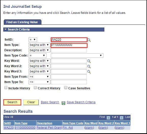 2nd Journal Set Setup Search Criteria