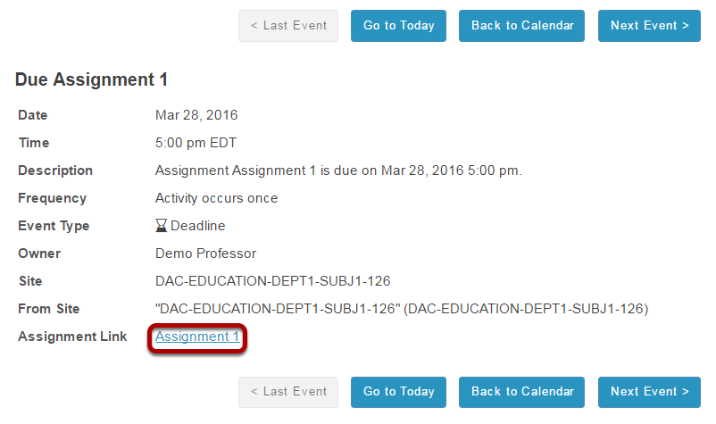 Or, click the direct link to the assignment from Schedule/Calendar.
