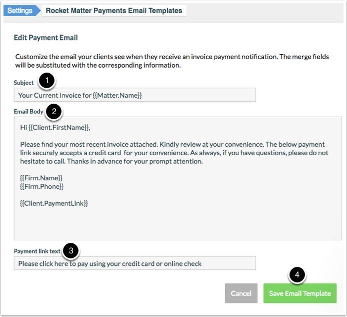 How To Edit A Payment Email Template Rocket Matter Knowledge Base