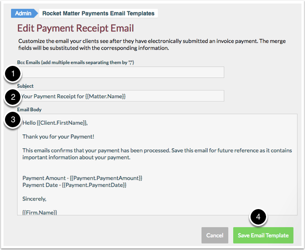 How Edit A Payment Receipt Email Template Rocket Matter - Email for invoice payment