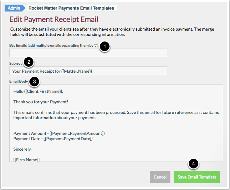 How To Edit A Payment Plan Receipt Email Template Rocket Matter - Invoice email to client
