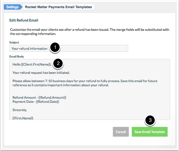 How To Edit A Refund Email Template Rocket Matter Knowledge Base
