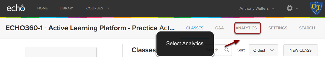 Image of the Echo 360 course menu with the Analytics option outlined with a red circle with an arrow pointing to it. Instructions indicate to click on the Analytics button.