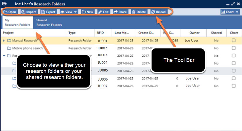 Research Folder Toolbar