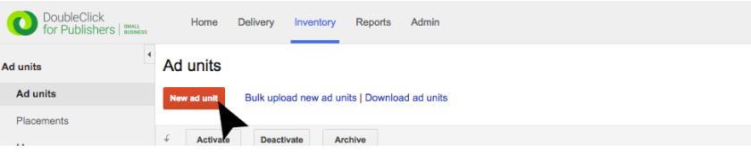 Click New ad unit.