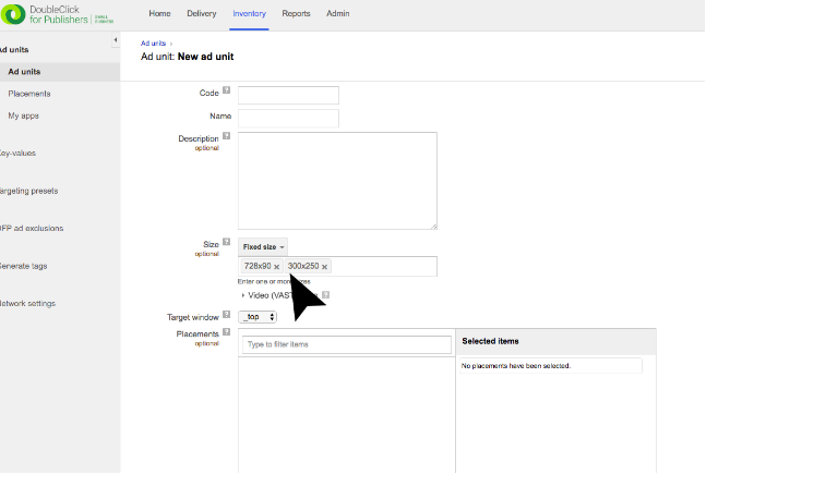 Fill out the new ad unit form with the required information.