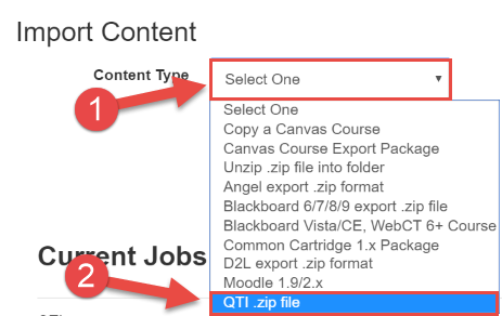 Select Import Type