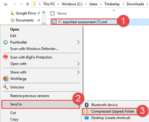 Create ZIP File: PC Users