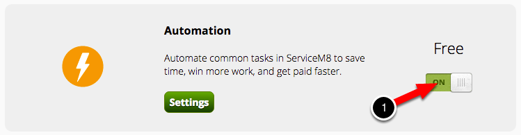Enable the Automation Add-on in Settings > ServiceM8 Add-ons