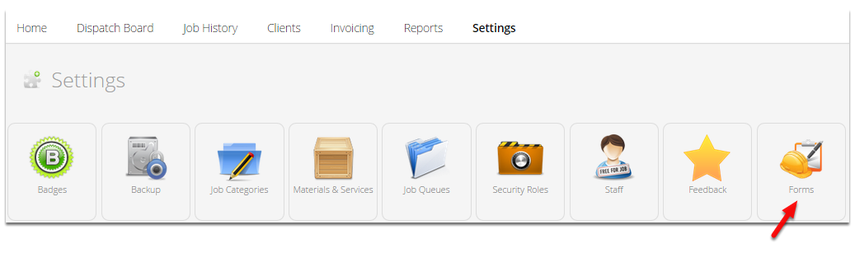 Go to Settings, and click Forms