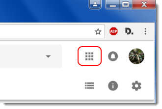 Google Apps menu icon is selected.