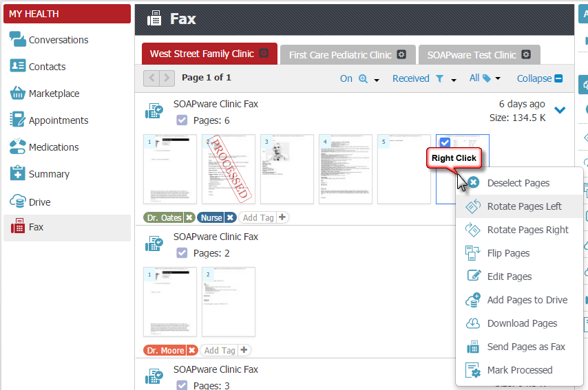 Right-Click Menu for Faxes
