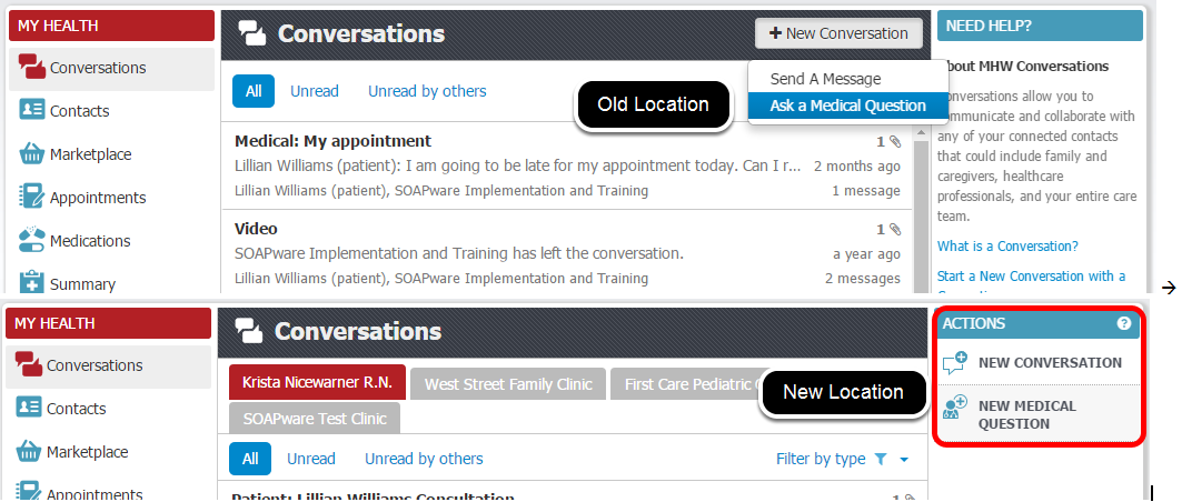 Relocation of New Conversation and Ask a Medical Question Buttons