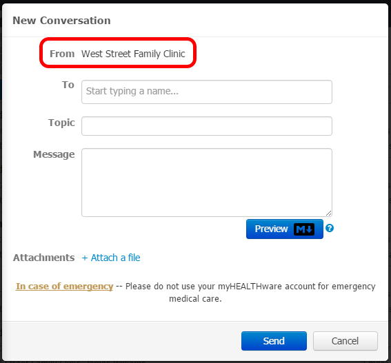 From on Conversations Defaults to selected Name