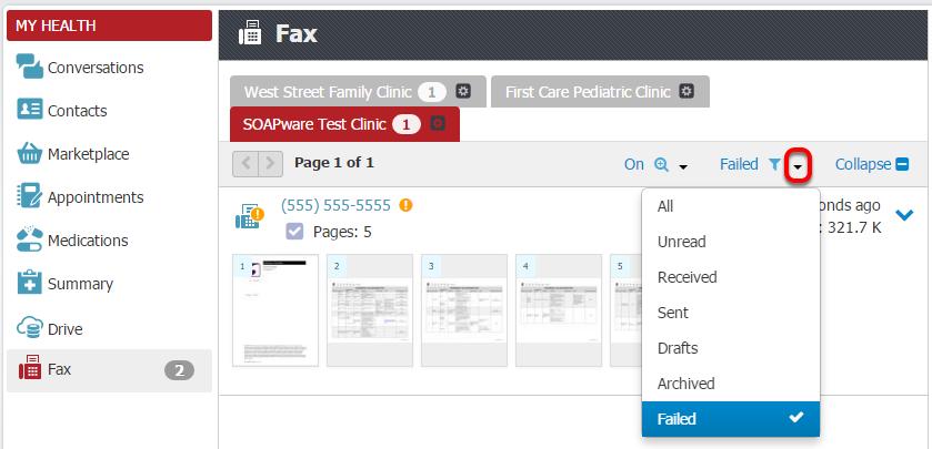 Fax Failed Filter