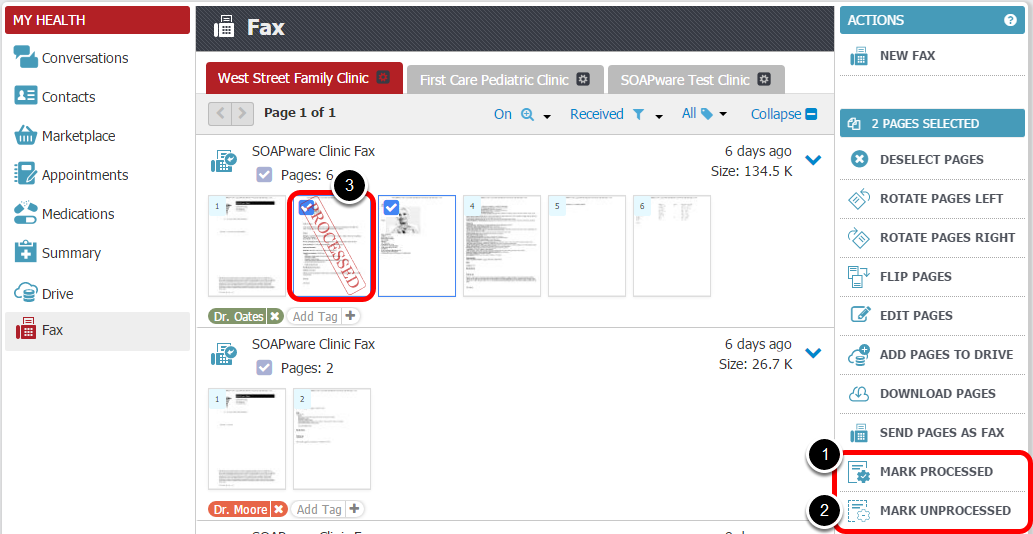 Mark Fax Pages as Processed