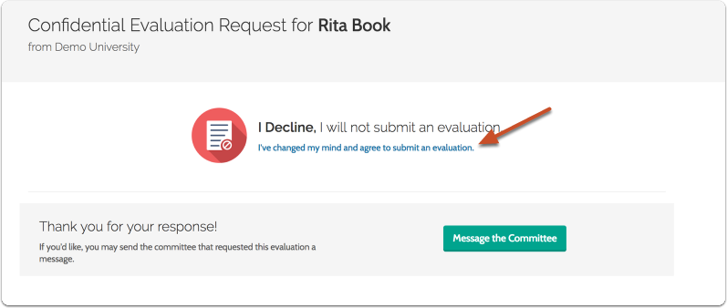 Declining a Request for an Evaluation