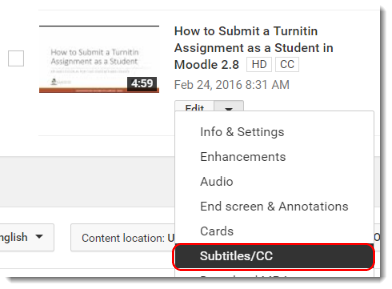 Click on Edit and select Subtitles and CC.