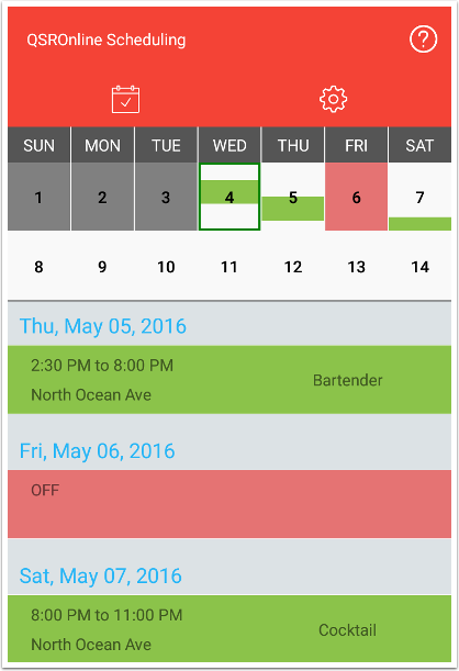 Schedules Page
