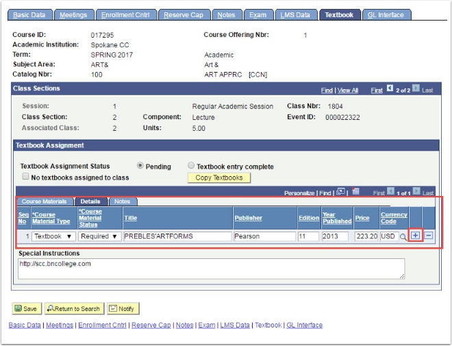 Textbook tab Details section highlighted