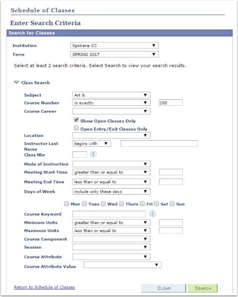 Schedule of Classes Search Criteria